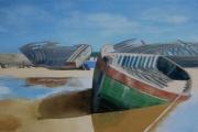 tableau marine bretagne bateau ciel bleu : N° 317 Thoniers au Magoüer , Rivière d'Etel