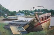 tableau marine bateau epave bretagne : N° 316 Epave sur la riviere de Chrac'h