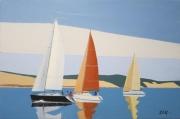 tableau marine bateaux ,a voile dune du pyla marine bassin d arcach : N° 281 Régate devant la Dune