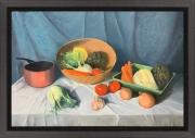 tableau nature morte legumes cuivre couleur rouge : NM 1 legumes