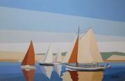 tableau marine voiliers bassin d arcach dune du pyla : Voiliers devant la Dune du Pyla