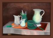 tableau harmonie pots ,a lait grand pot : NM 2 Tasse verte et pots