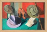 tableau nature morte chapeaux chaussures vestiaire homme : NM 10 mes chapeaux