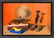 tableau autres afrique bois d afrique couleur chaude : NM9 Souvenirs du Gabon
