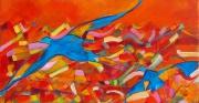 tableau animaux oiseau colore stylise : L'oiseau bleu
