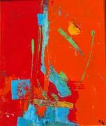 tableau abstrait rouge orange couteau abstrait : abstraction rouge et orange