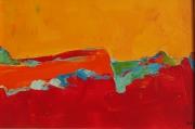 tableau abstrait abstrait rouge acrylique couteau : dune