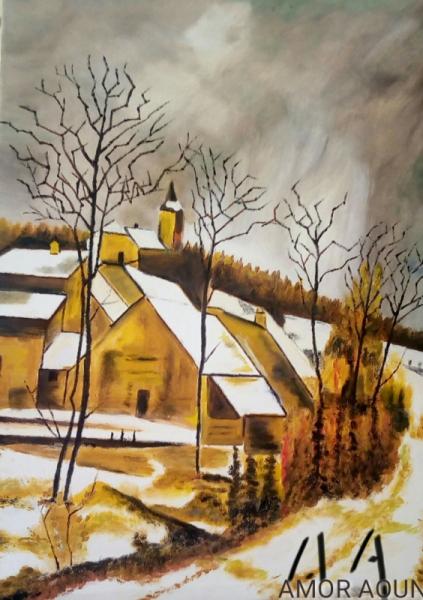 TABLEAU PEINTURE Amor Aoun l'hiver village Paysages Peinture a l'huile  - L'hiver sur un petit village