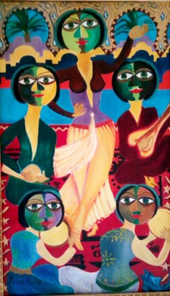 TABLEAU PEINTURE Amor Aoun Danseuse Palais de Bey Abstrait Peinture a l'huile  - La danseuse au Palais de Bey