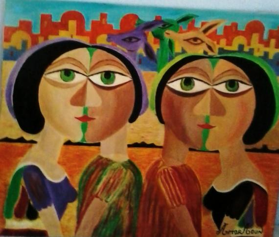 TABLEAU PEINTURE Couples heureux amor aoun Abstrait Peinture a l'huile  - Couples heureux