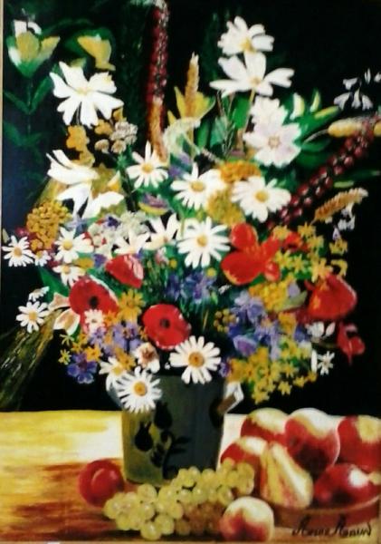 TABLEAU PEINTURE Amor-Aoun-fleurs Fleurs Peinture a l'huile  - Mille et un fleurs