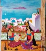 tableau scene de genre amor aoun le henne sidi bousaid : le henné a sidi bousaid