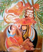 tableau scene de genre amor aoun la recolte des dates : La récolte des dattes
