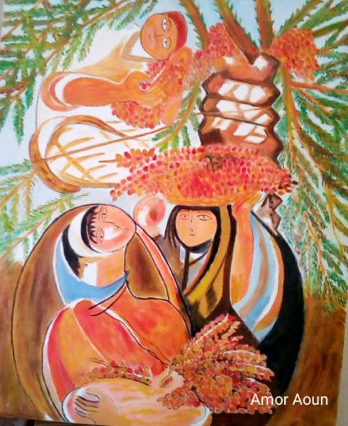 TABLEAU PEINTURE amor aoun La récolte des dates Scène de genre Peinture a l'huile  - La récolte des dattes