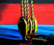 tableau marine poulie marine bateau port : HISSONS LES VOILES