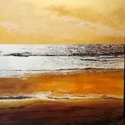 tableau marine plage mer coucher soleil : GOLDEN HOUR