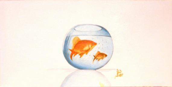 TABLEAU PEINTURE poissons rouge bocal bassin Animaux Peinture a l'huile  - BOCAL DE POISSONS ROUGE