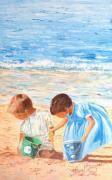 tableau personnages plage mer vacances enfants : JEUX D'ENFANTS