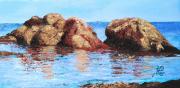 tableau marine noirmoutier lherbaudiÈre plage rocher : LE ROCHER DES LUTINS