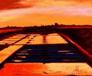 tableau paysages marais noirmoutier sel soir : MARAIS COULEURS DU SOIR