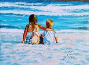 tableau personnages plage vacances mer enfants : TI FRÈRE