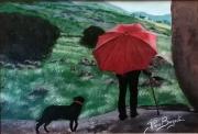 tableau personnages berger parapluie montagne moutons : LE PARAPLUIE ROUGE