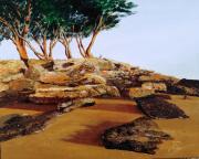 tableau paysages noirmoutier dames vacances plage : LES ROCHERS DE LA POINTE ST PIERRE
