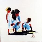 tableau personnages enfants plage famille mer : PARTIE DE PÊCHE EN FAMILLE