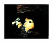 tableau personnages chat enfant curieux regard : les petits curieux
