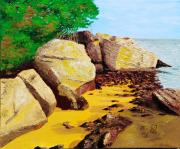 tableau paysages noirmoutier mer plage vacances : AU PIED DE L'ESTACADE