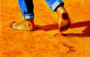 tableau personnages plage pas marche enfant : marcher dans le sable