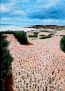 tableau marine plage mer dune vacances : LES PAS DANS LA DUNE