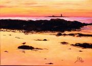 tableau marine mer plage pilier noirmoutier : SOLEIL COUCHANT SUR L'ILE DU PILIER