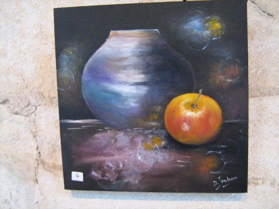 TABLEAU PEINTURE vase-pomme- Nature morte Peinture a l'huile  - De l'ombre à la lumière