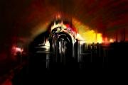 art numerique abstrait enfer feu porte rouge : Organs of hell