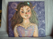 tableau personnages fee fantastique peinture decoration : petite fée coccinelle