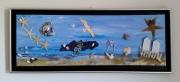 artisanat dart marine mer goeland sable coquillages : le grand bleu