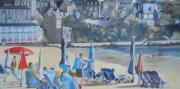 tableau marine plage terrasse ete mer : Grande plage de St Cast