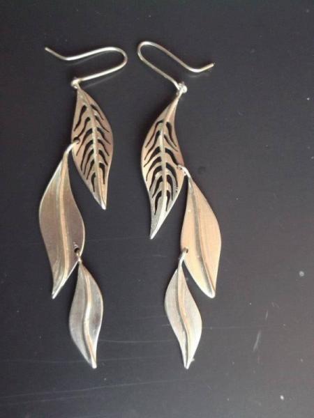 BIJOUX bijoux argent boucles d'oreil feuille  - feuilles