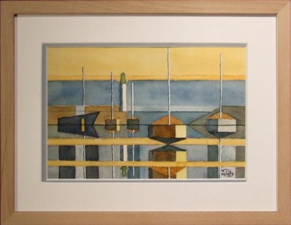 TABLEAU PEINTURE Marine Aquarelle  - St Quay 22