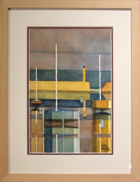 TABLEAU PEINTURE bateau mer port couleur Marine Aquarelle  - Binic 22