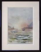 tableau marine bateau mer soleil horizon : Attente au port du Légué