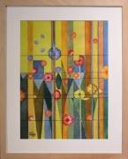 tableau fleurs fleur vent couleur : Fleurs au vent