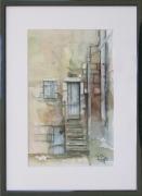 tableau architecture : Le vieil escalier