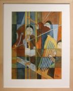 tableau scene de genre ambiance musique geometrie aquarelle : Ambiance musicale