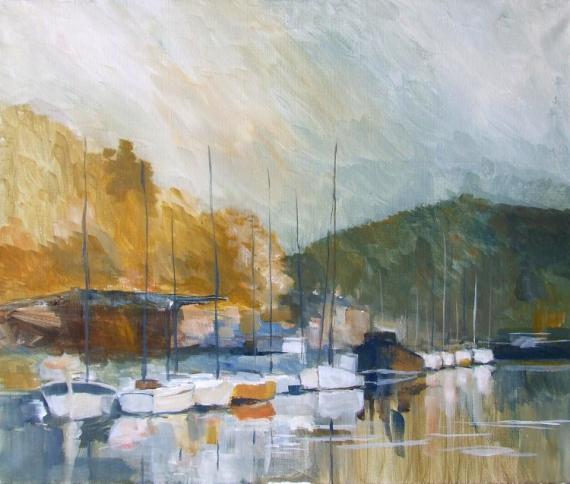 TABLEAU PEINTURE legue port mer impressionnisme Marine Acrylique  - Le Legué