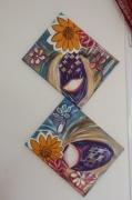 tableau fleurs fleurs tournesols soleil bleu : FLEURS TOURNESOLS