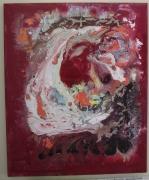 tableau abstrait rose acryliques framboise abstrait : TIRAMISU AUX FRAMBOISES