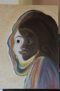 tableau personnages masque visages faces yin et le yang : Portraits Homme Femme Masque