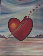 tableau abstrait coeur multicouleur petits coeurs echelle : COEUR MULTICOULEUR